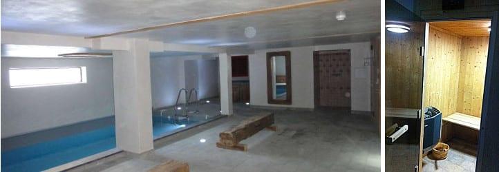 L'espace détente avec piscine intérieure, sauna et jacuzzi aux chalets le Sabot de Vénus et Le Gaulois à Champagny