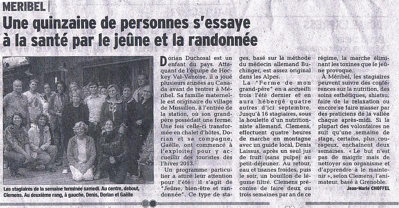 scan de l'article de juillet 2014 du dauphine libere sur les stages jeûne et randonnée de CHEMIN DE LA SANTÉ