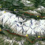 image trois-dimensionnel de google earth de l'itinéraire du stage de jeûne et randonnée en itinérance qui fait le tour du Mont Blanc