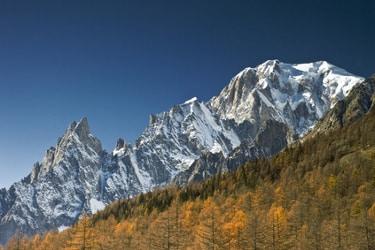 Vue du sommet du Mont Blanc du Val Ferret en Vallée d'Aoste, Italie