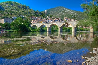 The village of Roquebrun in the Languedoc, France