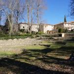 Restanques dans le jardin du Monastère de Ségriès avec des arbres bicentenaires